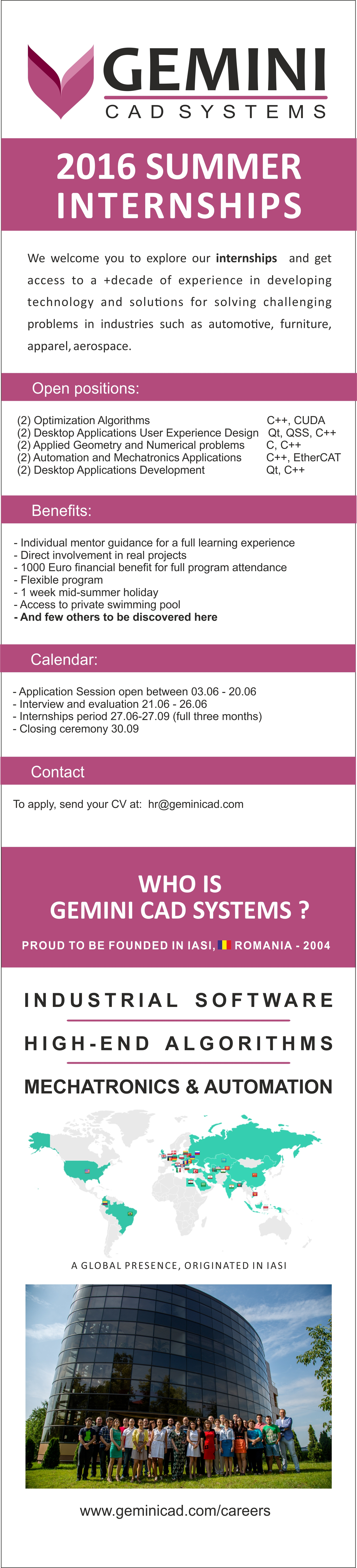 Summer internships Gemini CAD Systems
